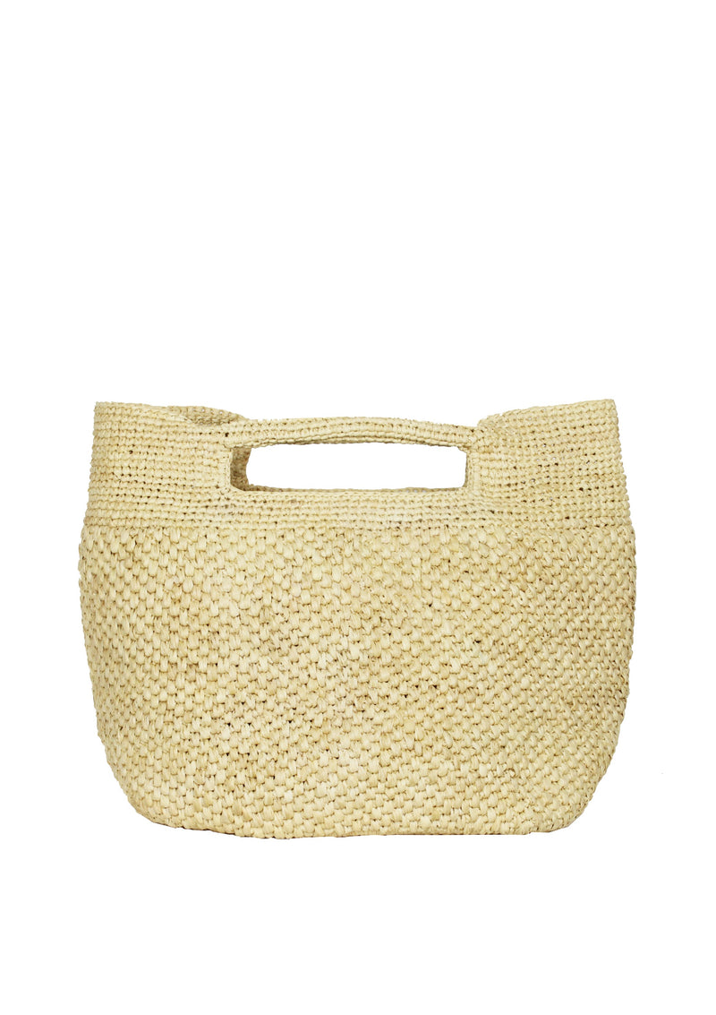 Maraina-London uk designer raffia crocheted beach bag bucket