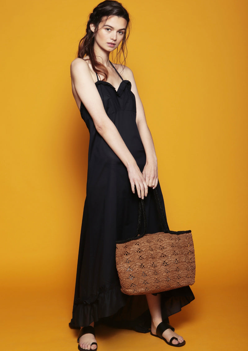 raffia beach bag with ruffle maxi dress resort wear