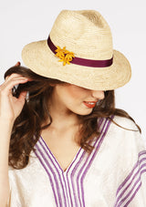 Raffia beach hat panama style with band and flowers lace for beach holidays