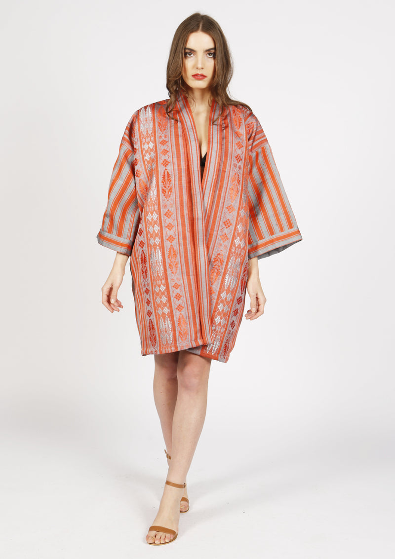 Women designer red silk kimono with royal pattern