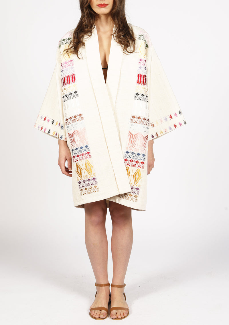 Cheap designer beige kimono jacket hand-woven raw silk and royal pattern
