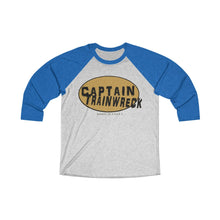 Load image into Gallery viewer, Capt Trainwreck Yellow Unisex Tri-Blend 3/4 Raglan Tee