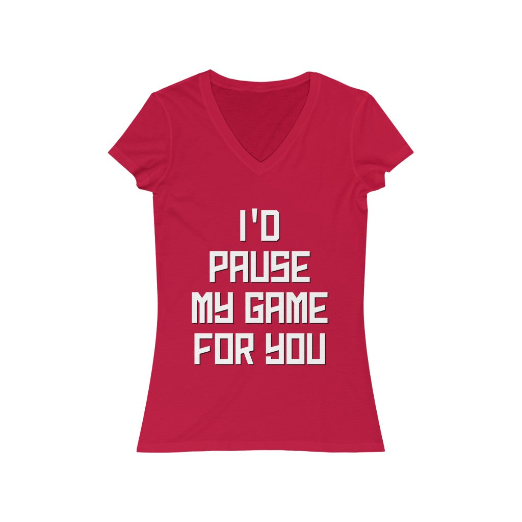 PAUSE Women's Jersey Short Sleeve V-Neck Tee