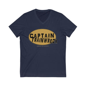 Capt Trainwreck Yellow Unisex Jersey Short Sleeve V-Neck Tee