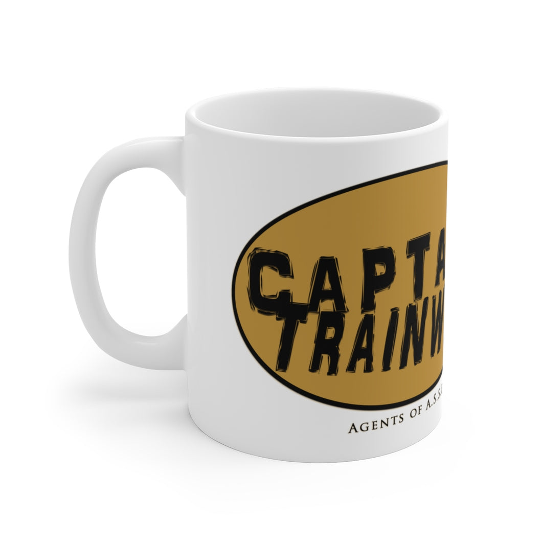 Captain Trainwreck Yellow White Ceramic Mug