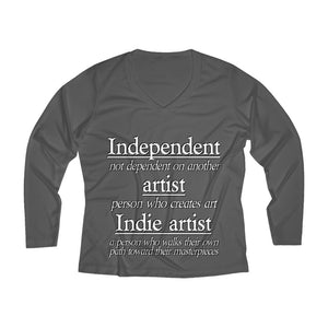 Indie Artist Women's Long Sleeve Performance V-neck Tee