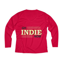 Load image into Gallery viewer, Go Indie Now Women's Long Sleeve Performance V-neck Tee
