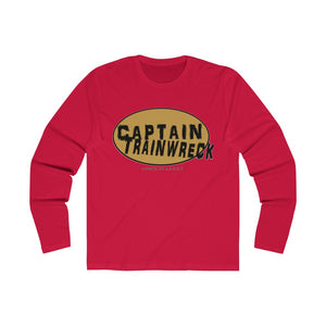 Capt Trainwreck Yellow Men's Long Sleeve Crew Tee