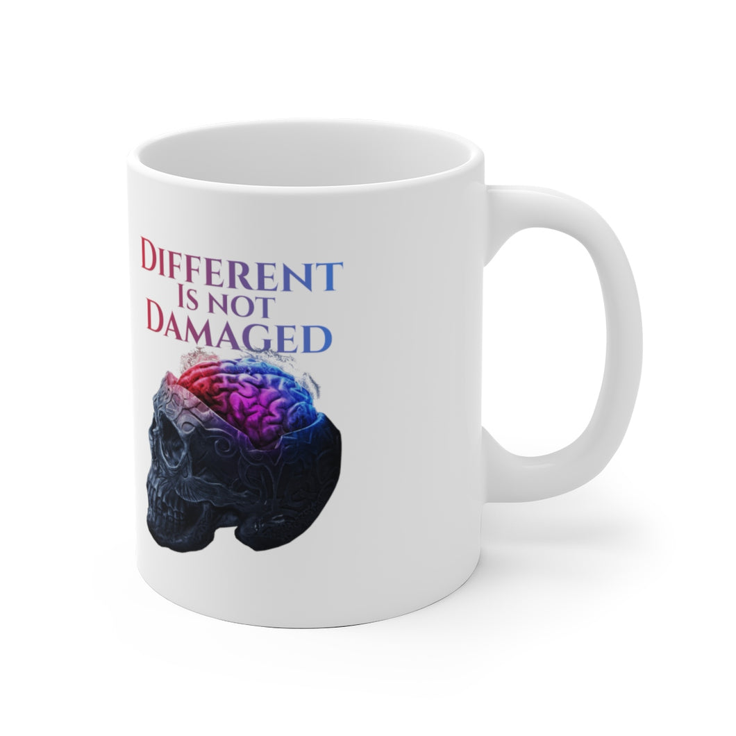 Different is not Damaged White Ceramic Mug