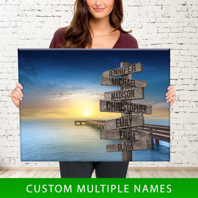 Ocean Dock Color Multi-Names Premium Canvas