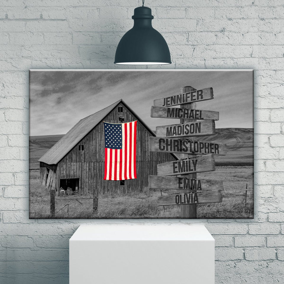 American Barn Multi-Names Premium Canvas