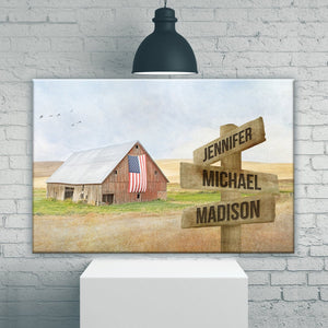 American Barn Art Multi-Names Premium Canvas