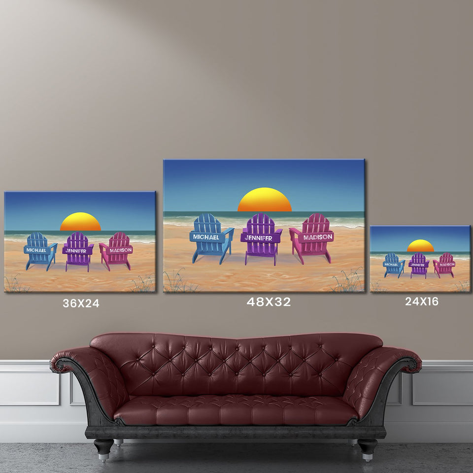 Colored Beach Chairs Multi-Names Premium Canvas