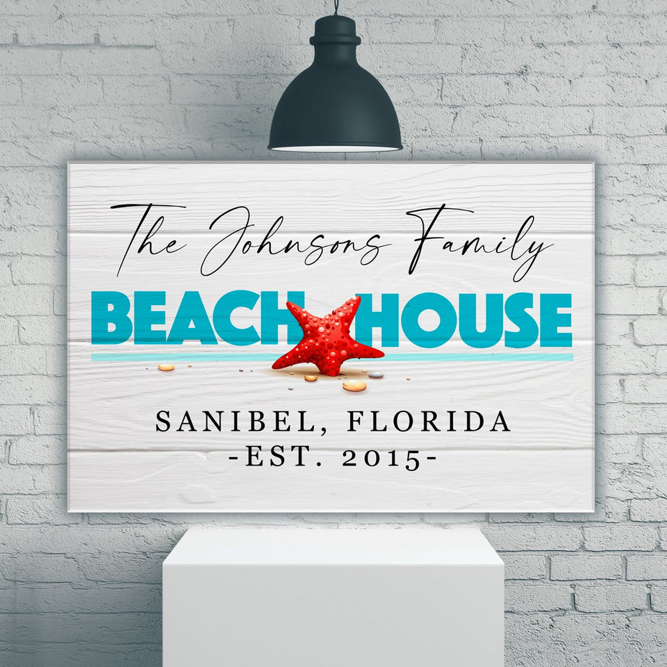 Family Beach House Sign Premium Canvas