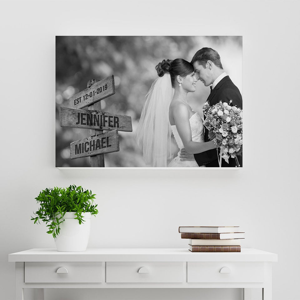Custom Image Wooden Sign Multi-Names Canvas