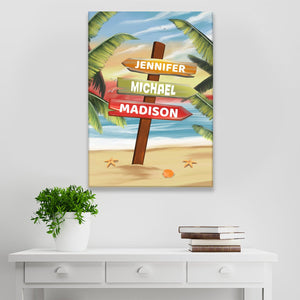 Drawing Beach Sign Color Multi-Names Premium Canvas