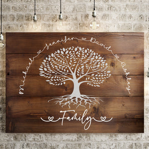 Family Tree Wood-Inspired Premium Canvas