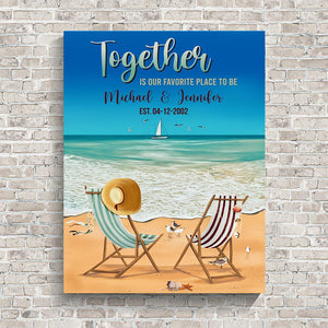 Together Beach Color Names Premium Canvas