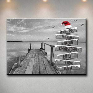 Lake Dock 2 Christmas Multi-Names Premium Canvas