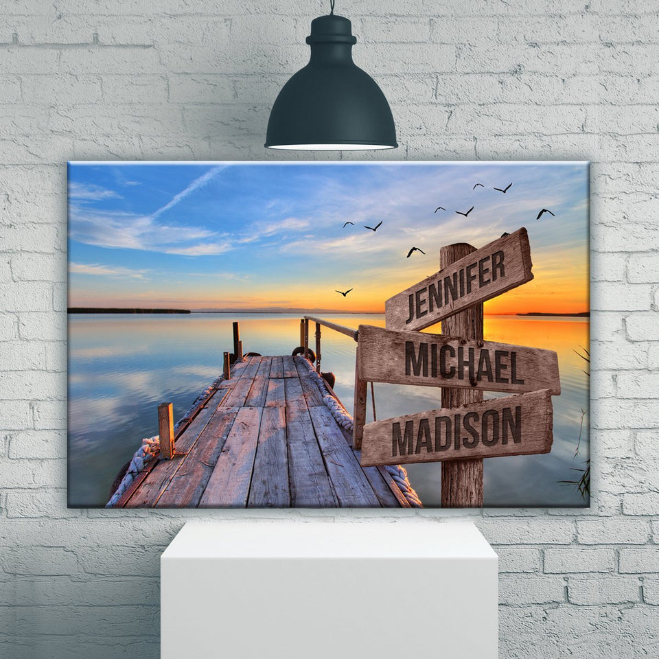 Lake Dock Color Multi-Names Premium Canvas 2