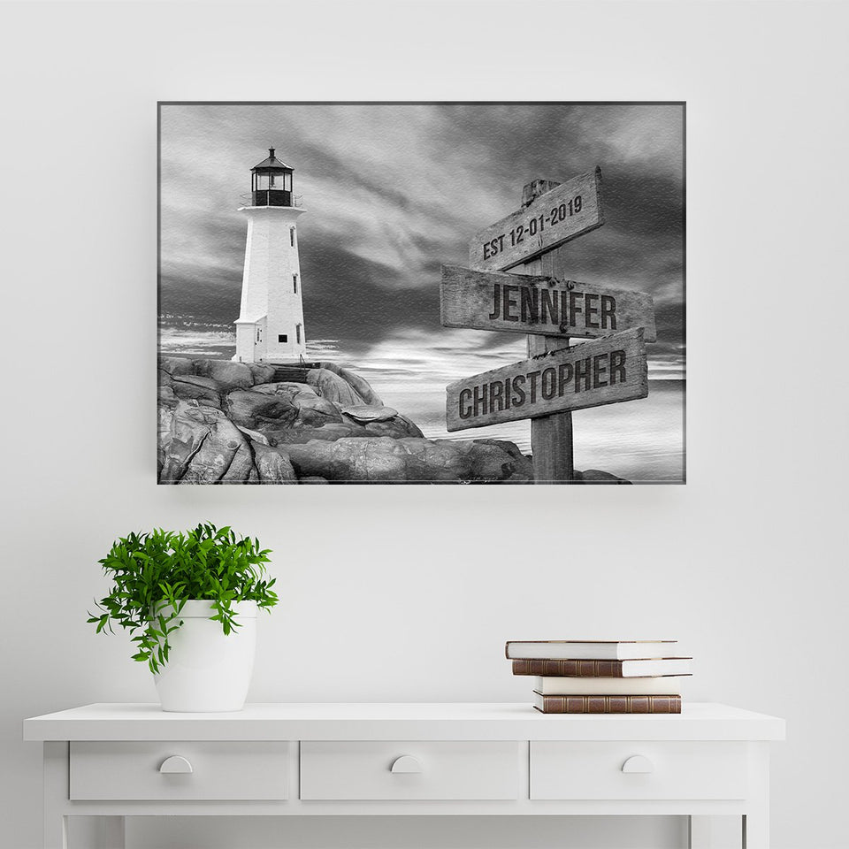Lighthouse Sunset Names Premium Canvas
