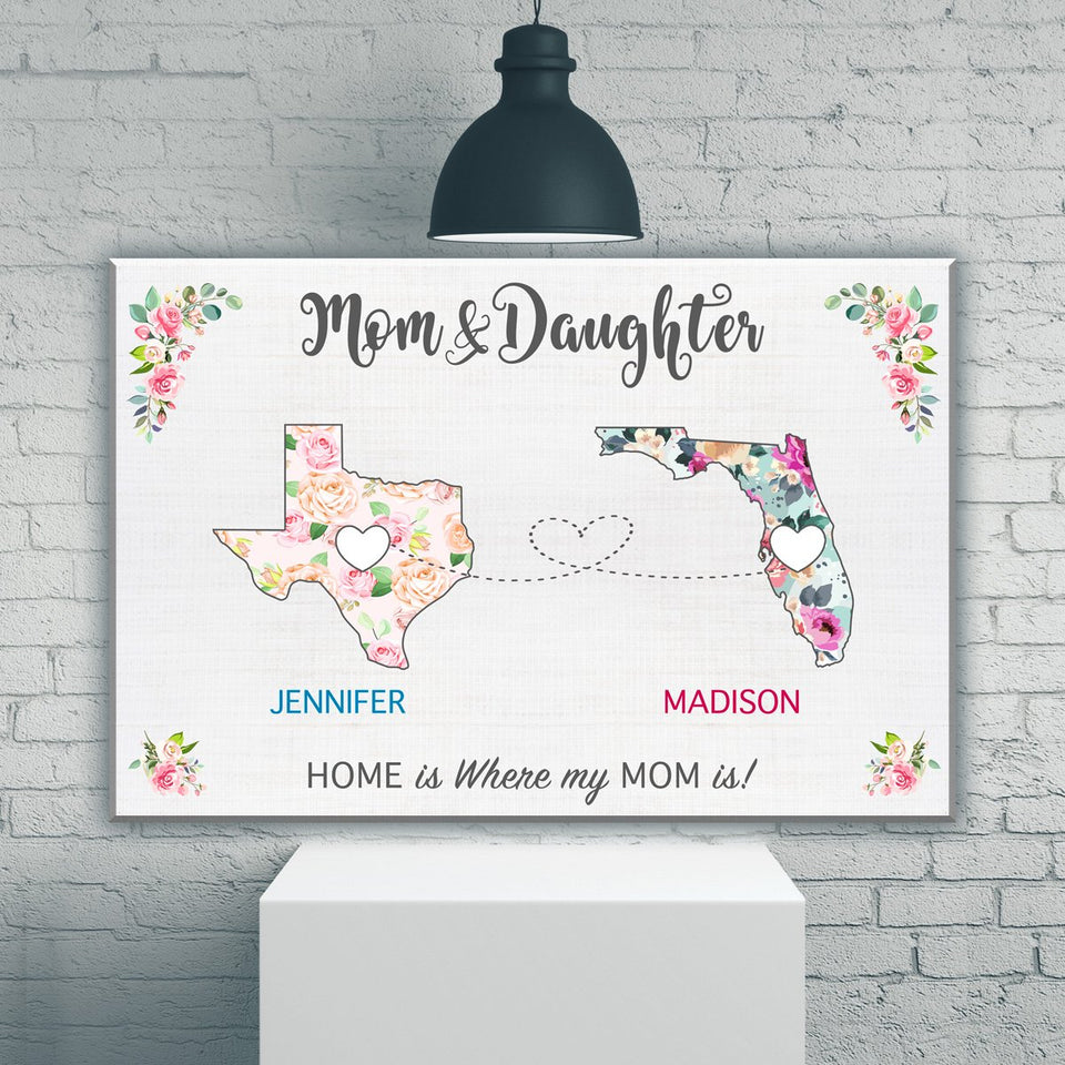 Mom & Daughter State Floral Premium Canvas