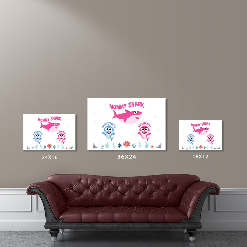 Mommy Shark Names Premium Canvas