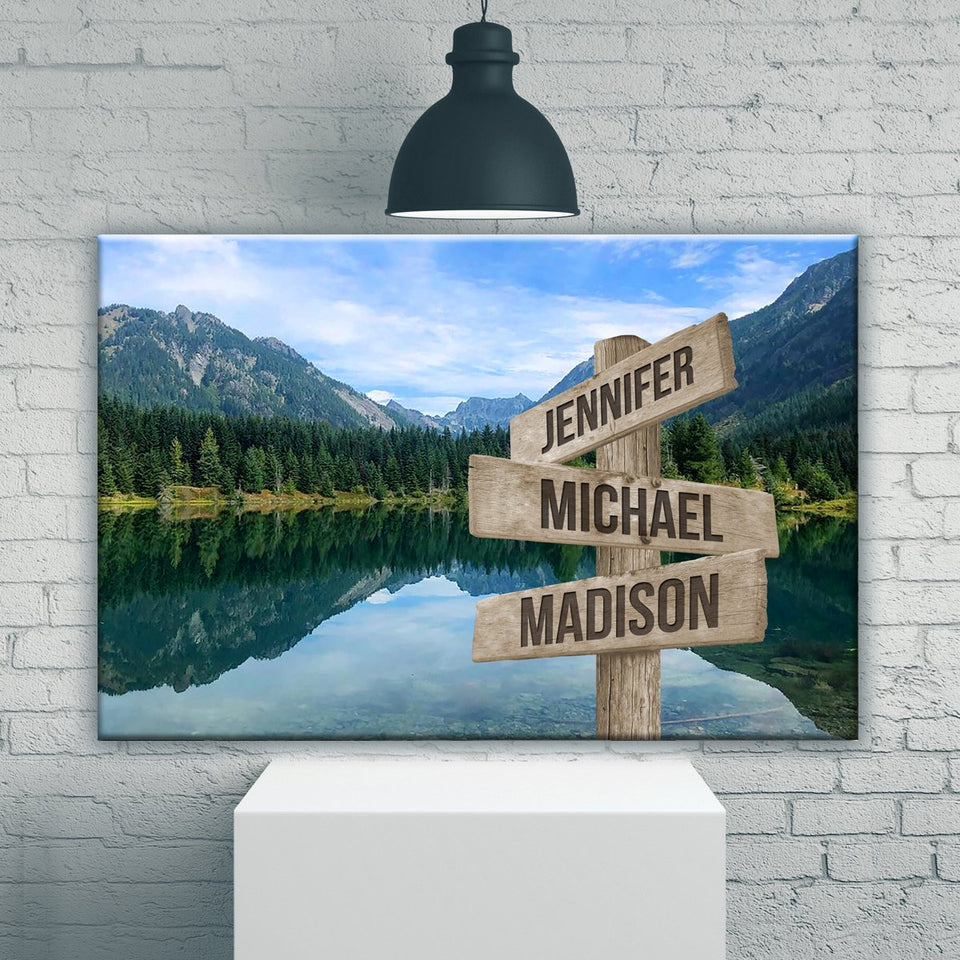 Mountain Lake Color Multi-Names Premium Canvas