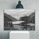 Mountain Range Art Multi-Names Premium Canvas