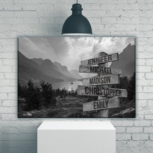 Mountain Range Multi-Names Premium Canvas