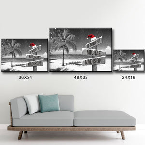 Ocean Breeze Christmas Multi-Names Premium Canvas
