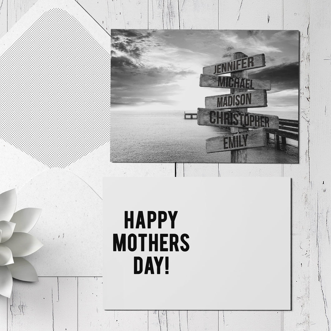 Ocean Dock Multi Sign 5x7 Card Print - Mothers Day