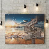 Ocean Sunset Names Premium Color Canvas