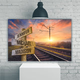 Railroad Track Color Multi-Names Premium Canvas 2