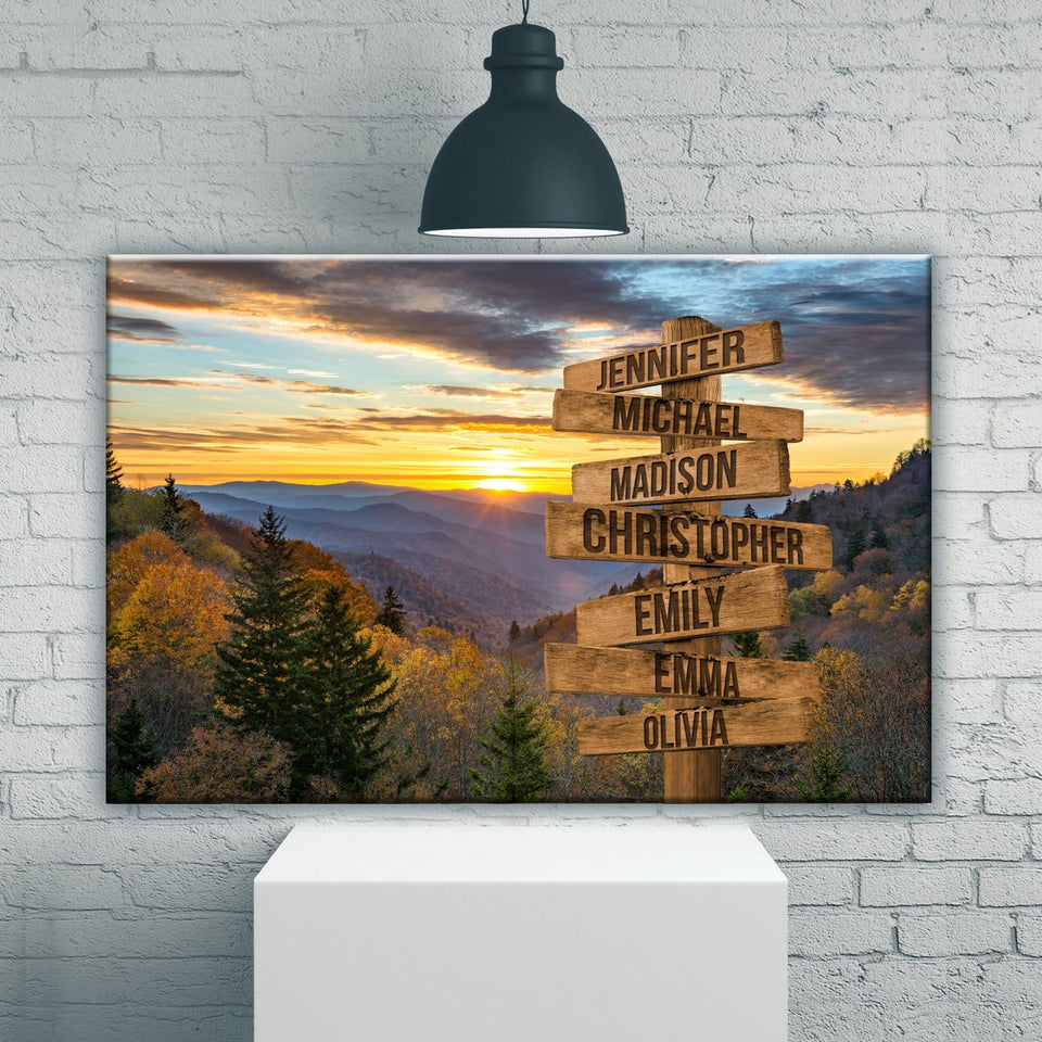 Smoky Mountains Color Multi-Names Premium Canvas