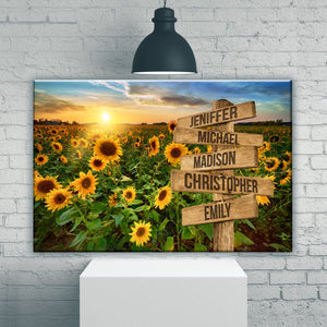 Sunflower Field Color Multi-Names Premium Canvas