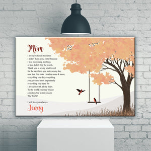To My Mom Cardinal Premium Canvas
