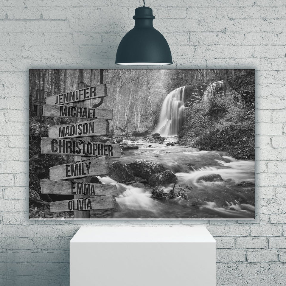 Waterfall Multi-Names Premium Canvas