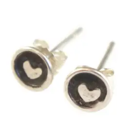 Sarah DeAngelo Teeny Tiny Stamped Heart Stud Earrings