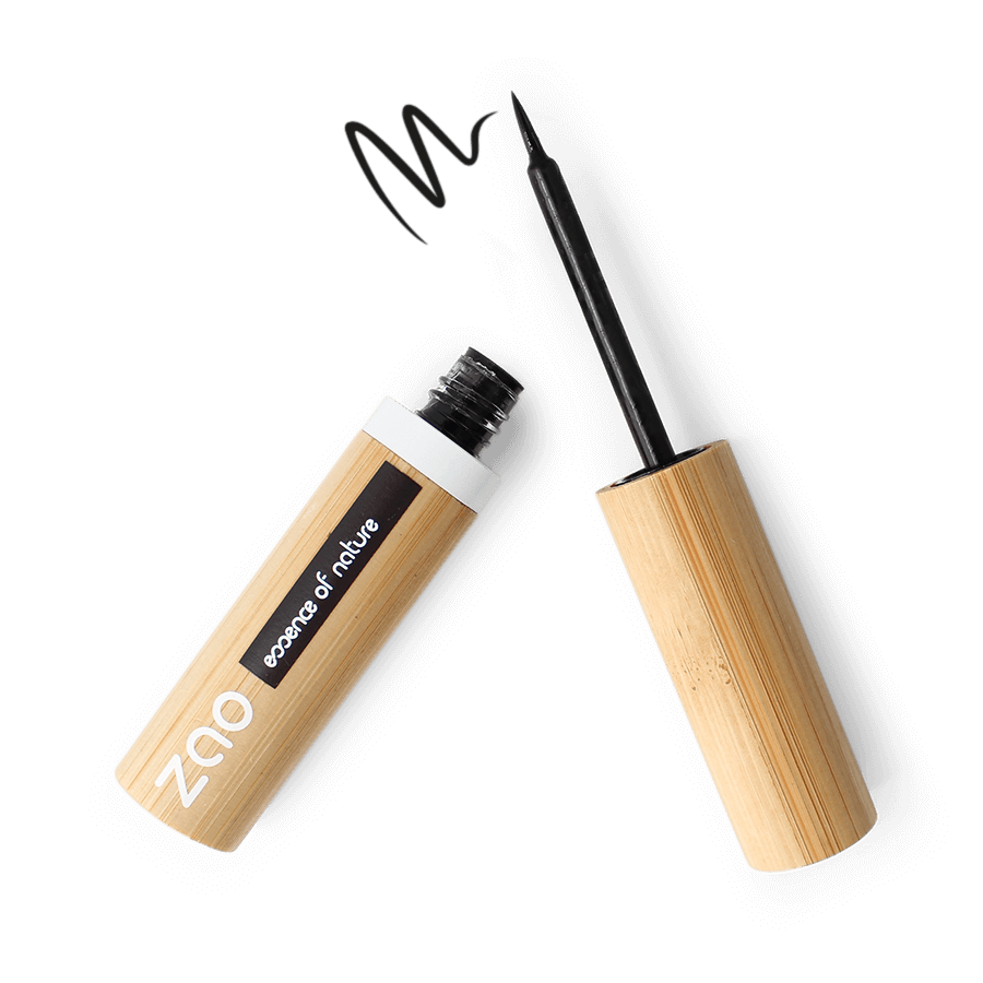 This image shows the ZAO Natural Organic Mineral Vegan Cruelty-Free (like Inika, Bobbi Brown and Nude By Nature) and Refillable Bamboo Makeup Australia Online Retail Store Eyeliner - Bamboo Case Product Black Intense Felt Tip 066