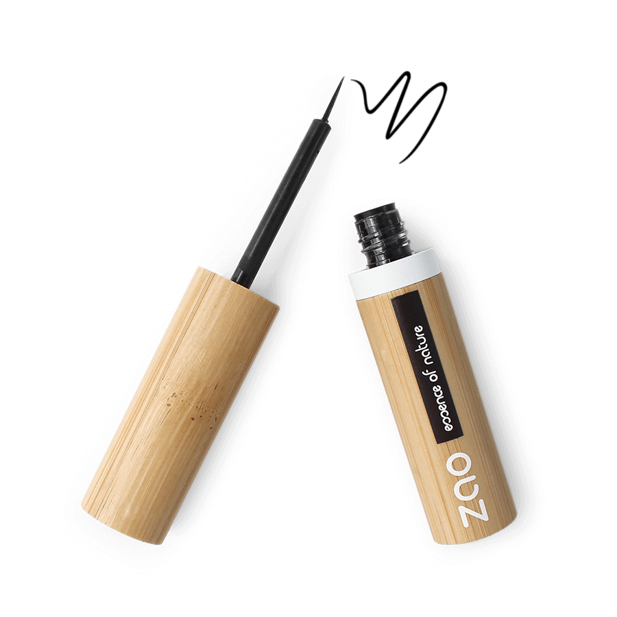 This image shows the ZAO Natural Organic Mineral Vegan Cruelty-Free (like Inika, Bobbi Brown and Nude By Nature) and Refillable Bamboo Makeup Australia Online Retail Store Eyeliner - Bamboo Case Product Black Intense Brush Tip 070