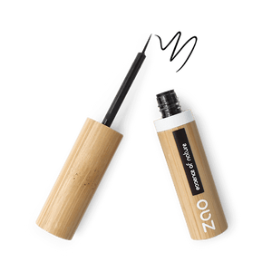 This image shows the ZAO Cosmetics and ZAO Natural Organic Mineral Vegan Cruelty-Free (like Inika, Bobbi Brown and Nude By Nature) and Refillable Bamboo Makeup Australia Online Retail Store Eyeliner - Bamboo Case Product Black Intense Brush Tip 070