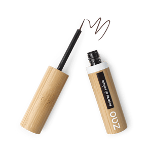 This image shows the ZAO Cosmetics and ZAO Natural Organic Mineral Vegan Cruelty-Free (like Inika, Bobbi Brown and Nude By Nature) and Refillable Bamboo Makeup Australia Online Retail Store Eyeliner - Bamboo Case Product Dark Brown Brush Tip 071