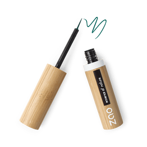 This image shows the ZAO Makeup  Eyeliner - Bamboo Case Product Emerald Green Brush Tip 073