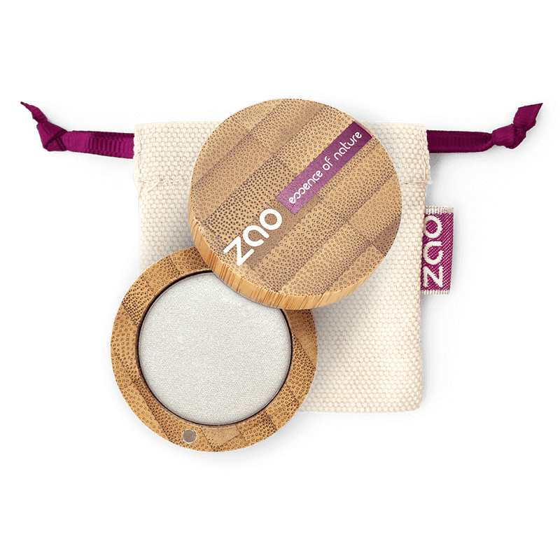 This image shows the ZAO Cosmetics and ZAO Natural Organic Mineral Vegan Cruelty-Free (like Inika, Bobbi Brown and Nude By Nature) and Refillable Bamboo Makeup Australia Online Retail Store Pearly Eyeshadow - Bamboo Case Product Silver 114