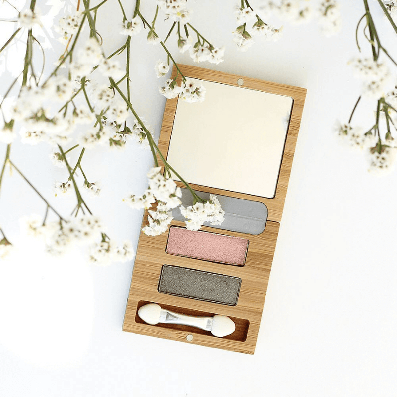 This image shows the ZAO Cosmetics and ZAO Natural Organic Mineral Vegan Cruelty-Free (like Inika, Bobbi Brown and Nude By Nature) and Refillable Bamboo Makeup Australia Online Retail Store Duo Flower Mini Palette 153