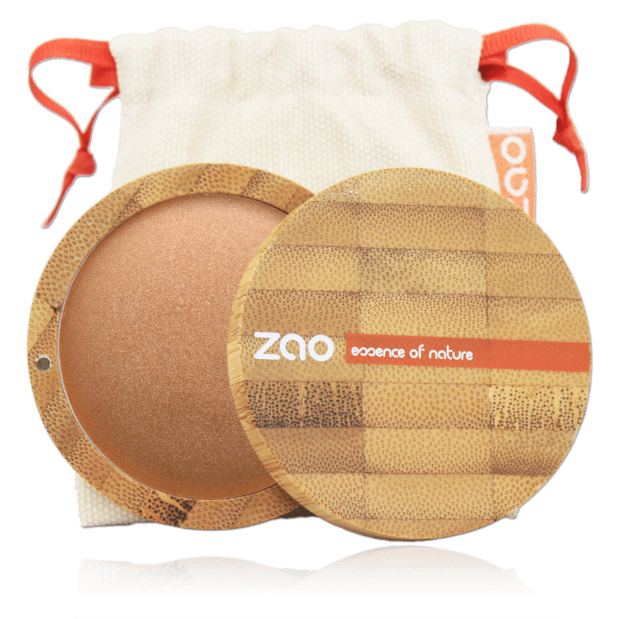 This image shows the ZAO Makeup  Bronzer - Mineral Cooked Powder - Bamboo Case Product Golden Copper 341
