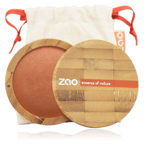 This image shows the ZAO Cosmetics and ZAO Natural Organic Mineral Vegan Cruelty-Free (like Inika, Bobbi Brown and Nude By Nature) and Refillable Bamboo Makeup Australia Online Retail Store Bronzer - Mineral Cooked Powder - Bamboo Case Product Red Copper 345