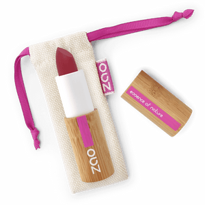 This image shows the ZAO Cosmetics and ZAO Natural Organic Mineral Vegan Cruelty-Free (like Inika, Bobbi Brown and Nude By Nature) and Refillable Bamboo Makeup Australia Online Retail Store Ultra Matt Soft Touch Lipstick - Bamboo Case Product Red Purple 436