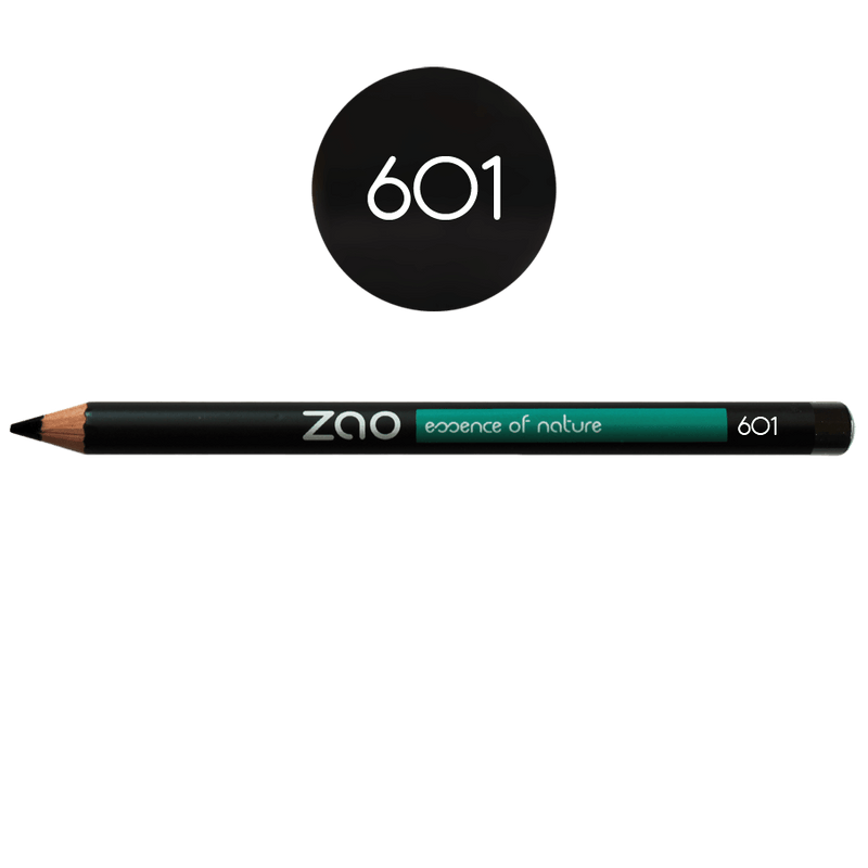 This image shows the ZAO Natural Organic Mineral Vegan Cruelty-Free (like Inika, Bobbi Brown and Nude By Nature) and Refillable Bamboo Makeup Australia Online Retail Store Pencil Black 601
